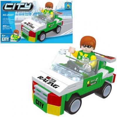 AUSINI Stavebnice MĚSTO auto závodní 60 dílků + 1 figurka plast