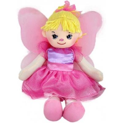 Panenka růžová hadrová motýlek 30cm