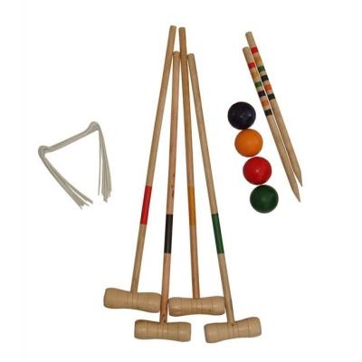 ACRA Sada na kroket pro 4 hráče v krabici dřevo palice 75cm