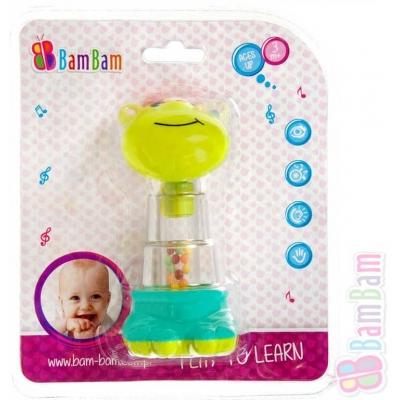 ET BAM BAM Baby chrastítko žirafa 13cm s kuličkami pro miminko Zvuk plast
