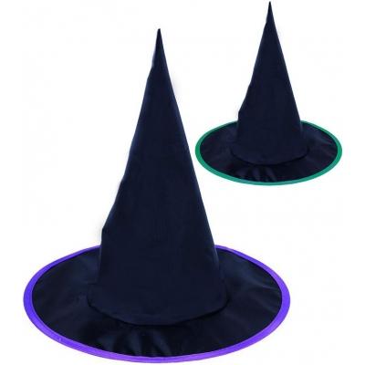 KARNEVAL Klobouk čaroděj černý 2 barvy špičatý *KARNEVALOVÝ DOPLNĚK*