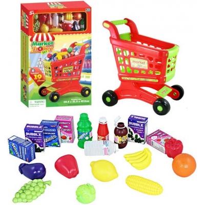 Vozík nákupní dětský plastový set s potravinami a nálepkami v krabici