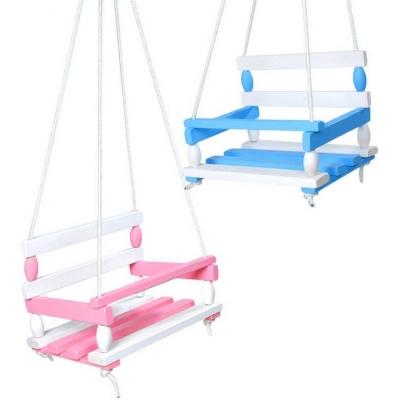 DŘEVO Houpačka dřevěná závěsná pro děti s ohrádkou modrá