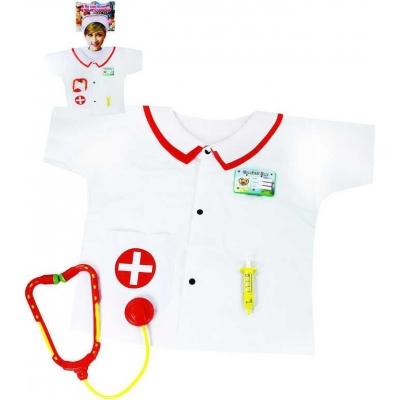 KARNEVAL Plášť zdravotnický set s doplňky vel.S (104-128 cm) 3-8 let KOSTÝM