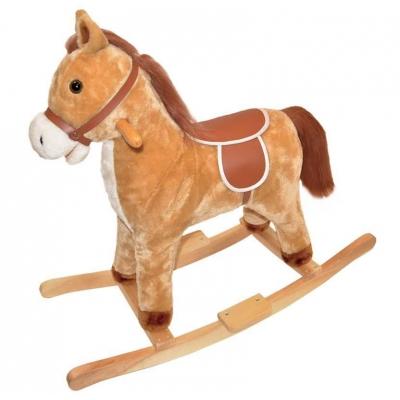 PLYŠ Kůň houpací světle hnědý plyšový 74x28x65cm s držadly dřevo