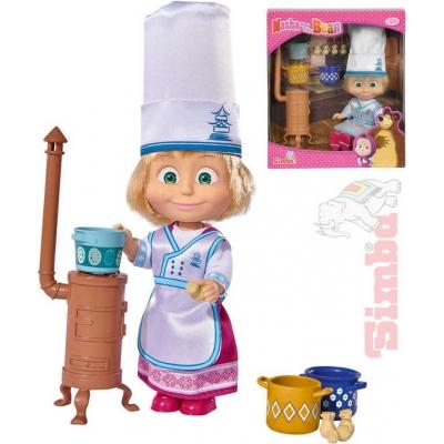 SIMBA Panenka Máša a medvěd kuchařka 12cm set s doplňky v krabici