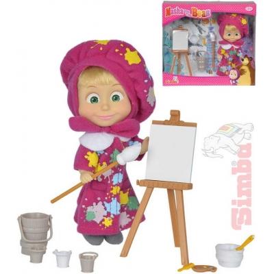 SIMBA Panenka Máša a medvěd malířka 12cm set s doplňky v krabici