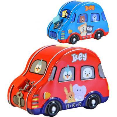 Pokladnička dětská autíčko 9,5x14x7cm set se zámkem a klíčkem různé barvy kov