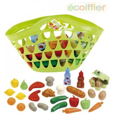 ECOIFFIER Taška dětská plastová set košík s potravinami ovoce a zelenina