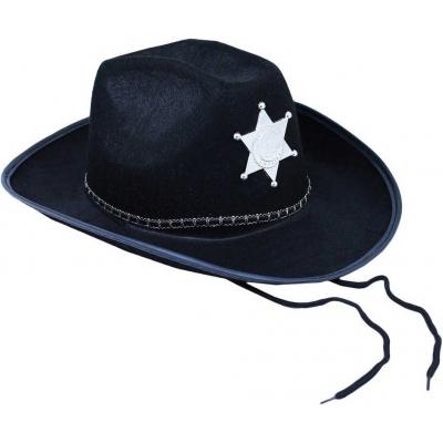 KARNEVAL Klobouk šerif černý s hvězdou dospělý KARNEVALOVÝ DOPLNĚK