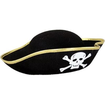 KARNEVAL Klobouk pirátský s lebkou černý dospělý KARNEVALOVÝ DOPLNĚK