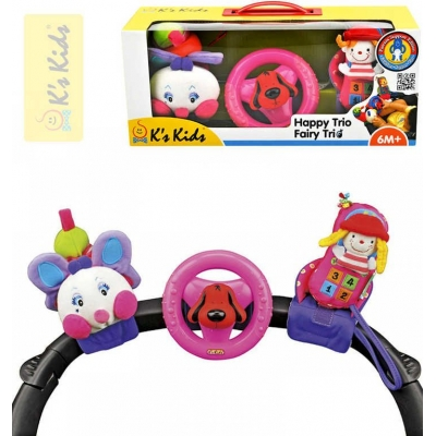 K´S KIDS Tři veselé hračky na přichycení suchým zipem pastelové barvy
