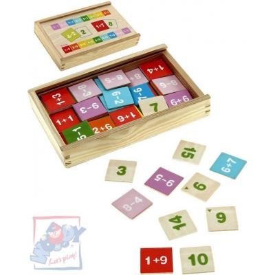 WOODY DŘEVO Krabička se sčítáním a odčítáním Hra 81 kusů