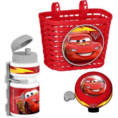Doplňky plastové na dětské kolo Cars (Auta) set košík, láhev na nápoj, zvonek
