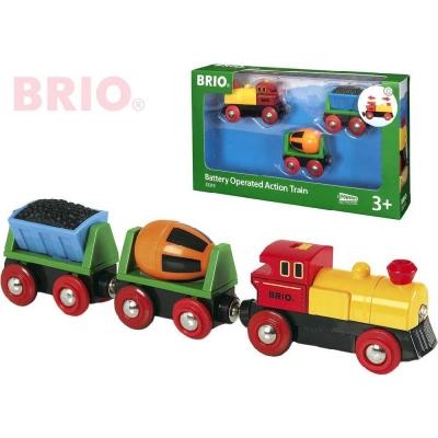 BRIO Mašinka elektrická set se 2 vagónky na baterie k vláčkodráze 33319 Světlo