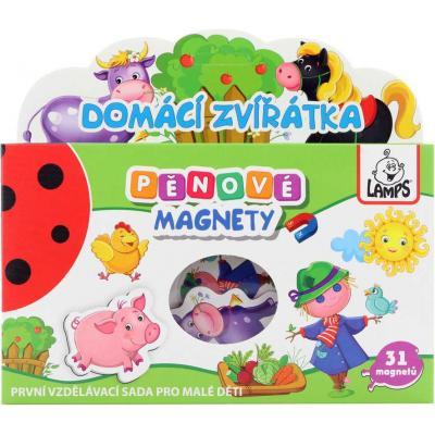 Magnetky soft pěnové tvarované s obrázky zvířátka set 31ks v krabici