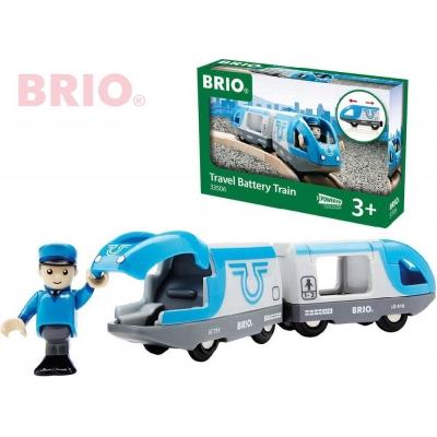 BRIO DŘEVO Set elektrická vlaková souprava + figurka strojvedoucí na baterie