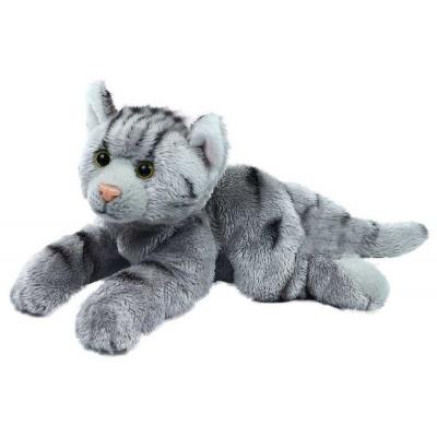 PLYŠ Kočka 18cm šedá ležící exkluzivní kolekce *PLYŠOVÉ HRAČKY*