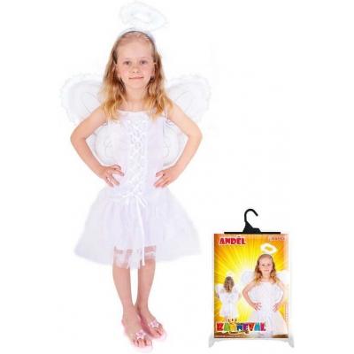 KARNEVAL Šaty anděl + svatozář vel. M (116-128cm) 6-8 let KOSTÝM