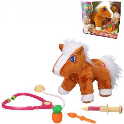 PLYŠ Nemocný koník malý veterinář interaktivní set s doplňky na baterie Zvuk