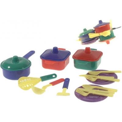 MAD Dětské plastové nádobí kuchyňský set s příbory a doplňky v síťce