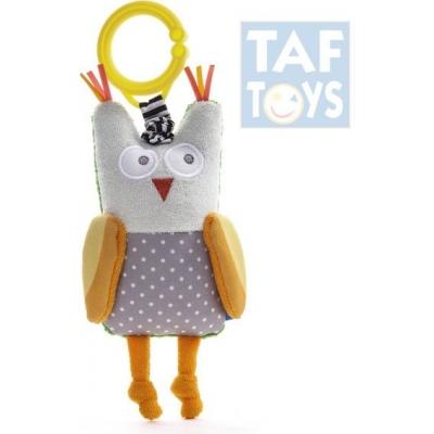 TAF TOYS Baby chrastítko sova vibrující Obi s klipem pro miminko
