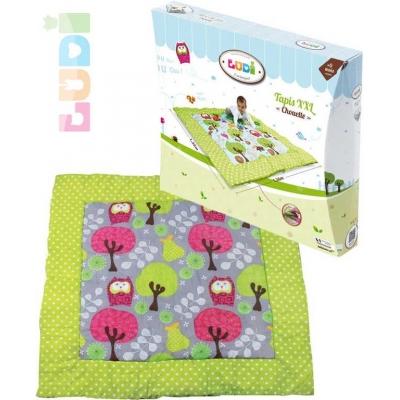 LUDI Baby hrací deka pratelná XXL sovičky a stromy 140x140cm pro miminko