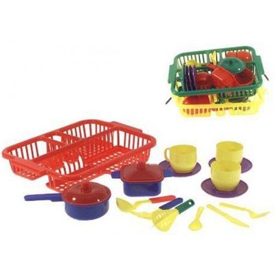 Dětská sada nádobí set kuchyňský plastový s odkapávačem 3 barvy