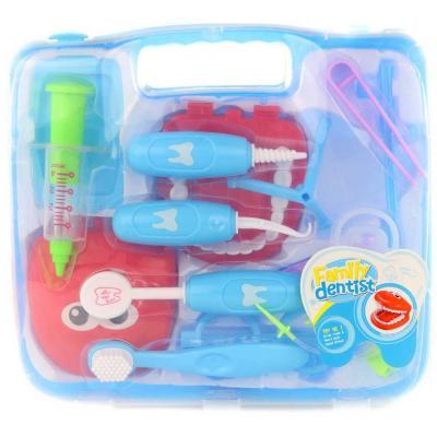 Sada doktorská zubař dětské lékařské potřeby s umělým chrupem v kufříku