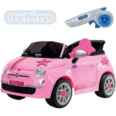 PEG PÉREGO RC Auto FIAT 500 STAR pink 6V na dálkové ovládání ELEKTRICKÉ VOZÍTKO