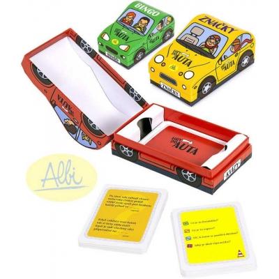 ALBI Hry do auta pro 1 hráče Značky / Kvízy / Bingo 3 druhy