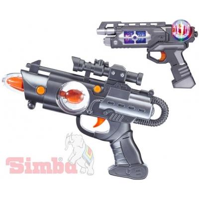 SIMBA Zbraň vesmírná 22cm Planet Fighter Světlo Zvuk 3 druhy mění barvu plast