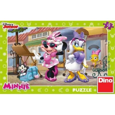 DINO Hra Puzzle Disney Junior Minnie na Montmartru 15 dílků v krabici