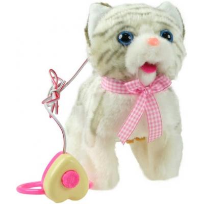 PLYŠ Kocička chodící a mňoukající na kabel na baterie se zvukem 2 barvy