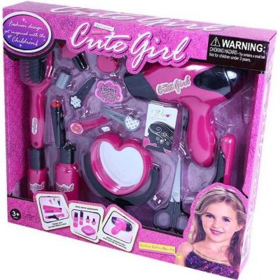 Velký kosmetický a vlasový dětský set se zrcátkem a fénem na baterie Zvuk