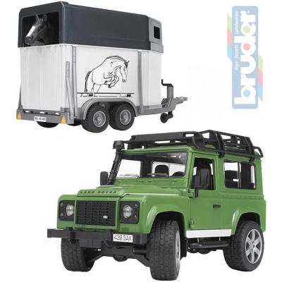 BRUDER 02592 (2592) Auto Land Rover přepravní s koněm