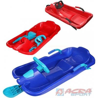 ACRA Boby dětské SKIBOB s volantem a 2 brzdami jednolyžové různé barvy plast