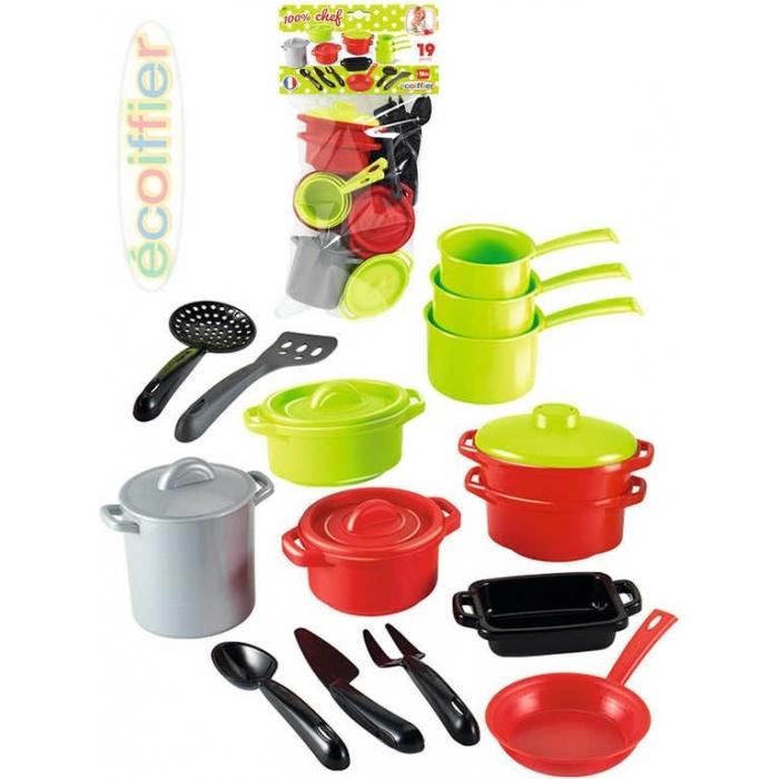 ECOIFFIER Sada nádobí dětské na vaření XXL 19ks plast v sáčku
