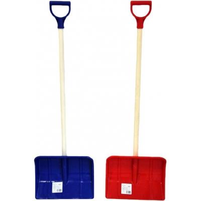 Lopata pro děti na sníh 87cm dřevěné hráblo plast/dřevo t-ručka 2 barvy