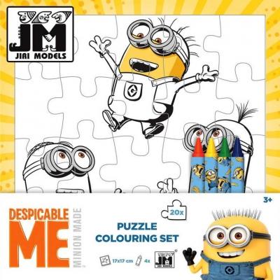 IRI MODELS Omalovánky puzzle 2in1 kreativní set s voskovkami Mimoni (Minions)
