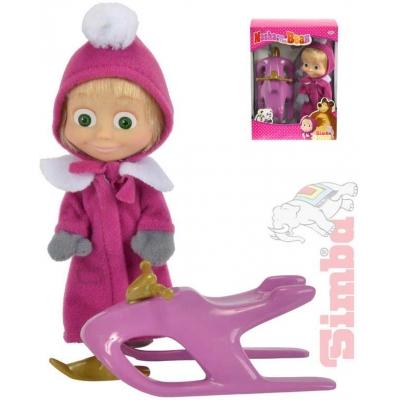SIMBA Máša a medvěd panenka 12cm zimní set se skútrem