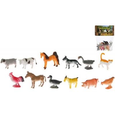 Zvířátka plastová farma 5cm set 12 druhů v sáčku