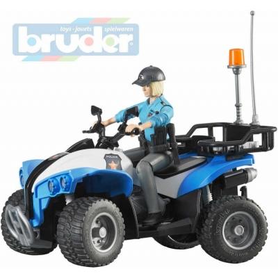 BRUDER 63010 Model 1:16 čtyřkolka policejní 16cm set s řidičem plast