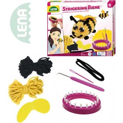 LENA Stav pletací dětský plastový Včelka set s vlnou a doplňky v krabici 42008