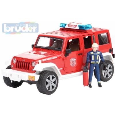 BRUDER 02528 Jeep Wrangler Rubicon hasiči funkční set s figurkou Světlo Zvuk