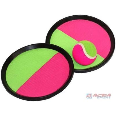 ACRA Hra Catch ball set s 2 talíře s míčkem na suchý zip 20cm