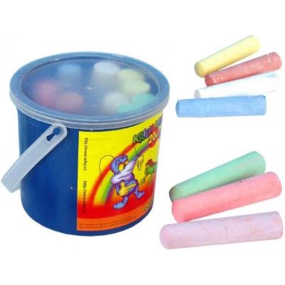 Křídy chodníkové barevné kulaté Set 20ks 6 barev v plastovém kyblíku na chodník